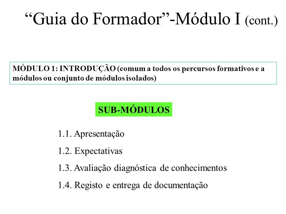MÓDULO 1: INTRODUÇÃO (comum a todos os percursos formativos e a módulos ou conjunto de módulos isolados) SUB-MÓDULOS 1.1. Apresentação 1.2. Expectativ