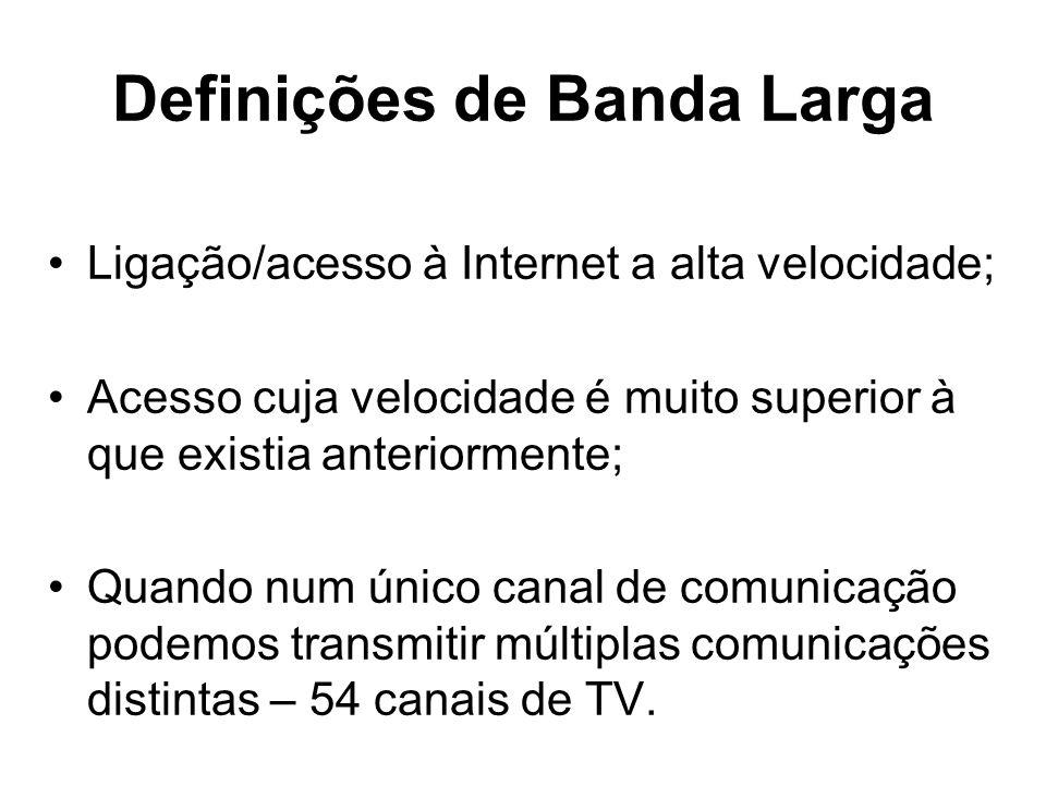 Definições de Banda Larga Ligação/acesso à Internet a alta velocidade; Acesso cuja velocidade é muito superior à que existia anteriormente; Quando num