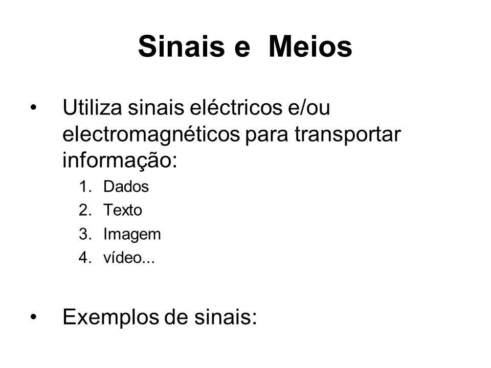 Sinais e Meios Utiliza sinais eléctricos e/ou electromagnéticos para transportar informação: 1.Dados 2.Texto 3.Imagem 4.vídeo... Exemplos de sinais: