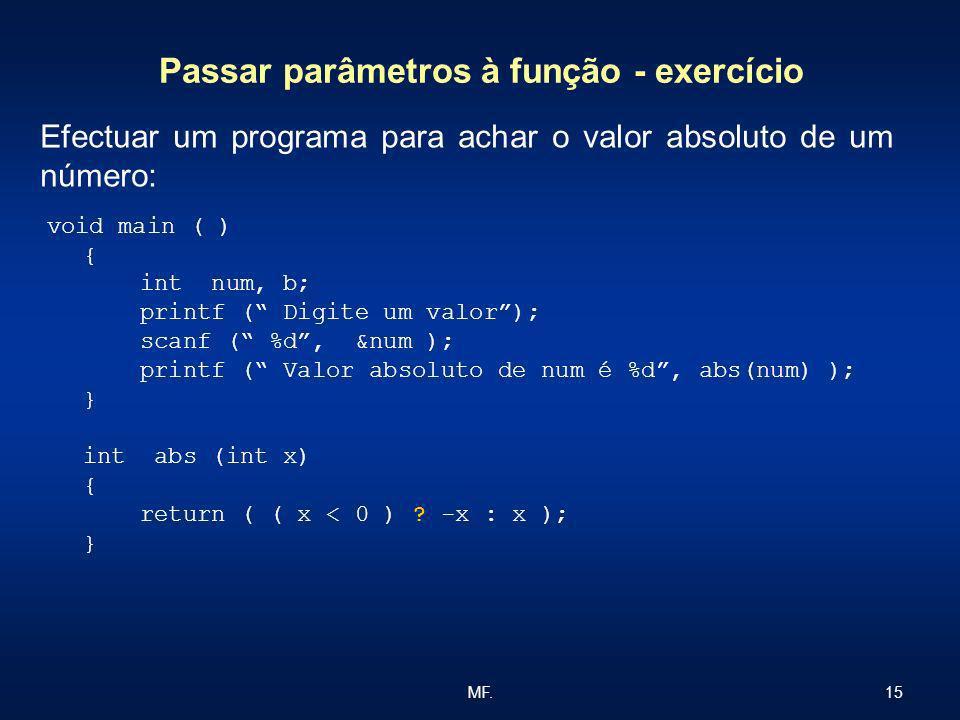 15MF. Passar parâmetros à função - exercício void main ( ) { int num, b; printf ( Digite um valor); scanf ( %d, &num ); printf ( Valor absoluto de num