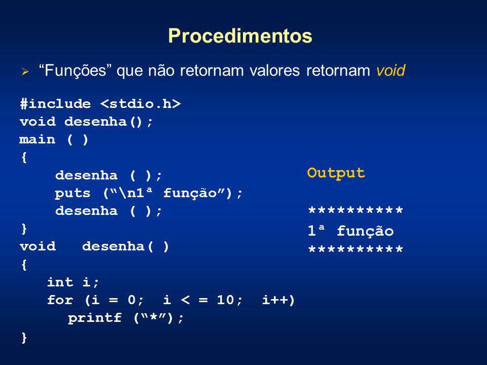 Procedimentos Funções que não retornam valores retornam void #include void desenha(); main ( ) { desenha ( ); puts (\n1ª função); desenha ( ); } void