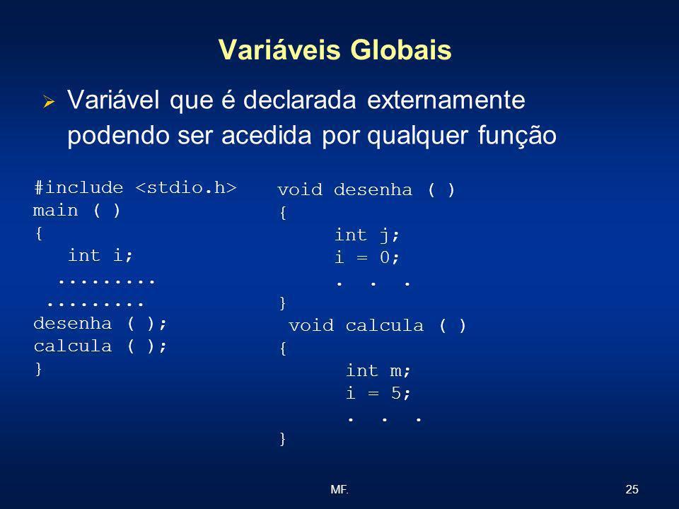 25MF. Variáveis Globais Variável que é declarada externamente podendo ser acedida por qualquer função #include main ( ) { int i;......... desenha ( );