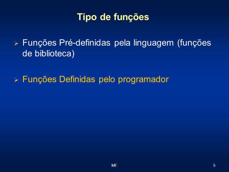 5MF. Tipo de funções Funções Pré-definidas pela linguagem (funções de biblioteca) Funções Definidas pelo programador