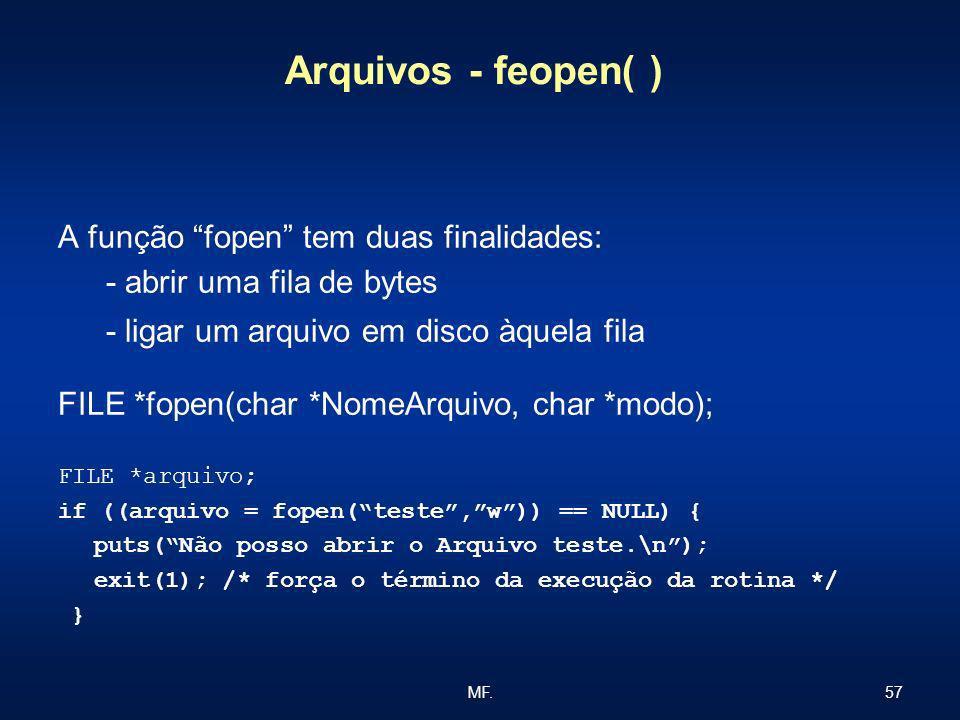 57MF. Arquivos - feopen( ) A função fopen tem duas finalidades: - abrir uma fila de bytes - ligar um arquivo em disco àquela fila FILE *fopen(char *No