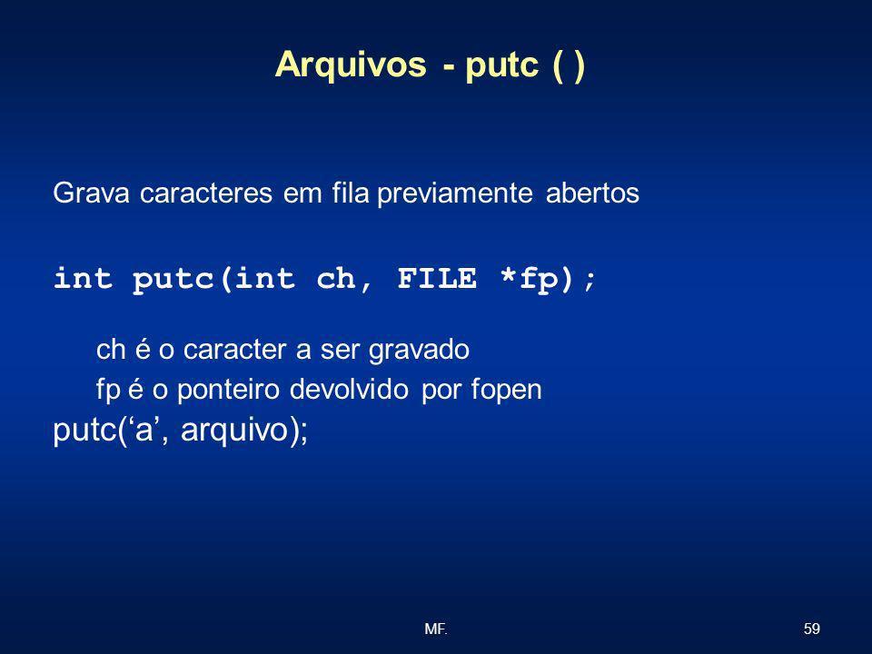 59MF. Arquivos - putc ( ) Grava caracteres em fila previamente abertos int putc(int ch, FILE *fp); ch é o caracter a ser gravado fp é o ponteiro devol