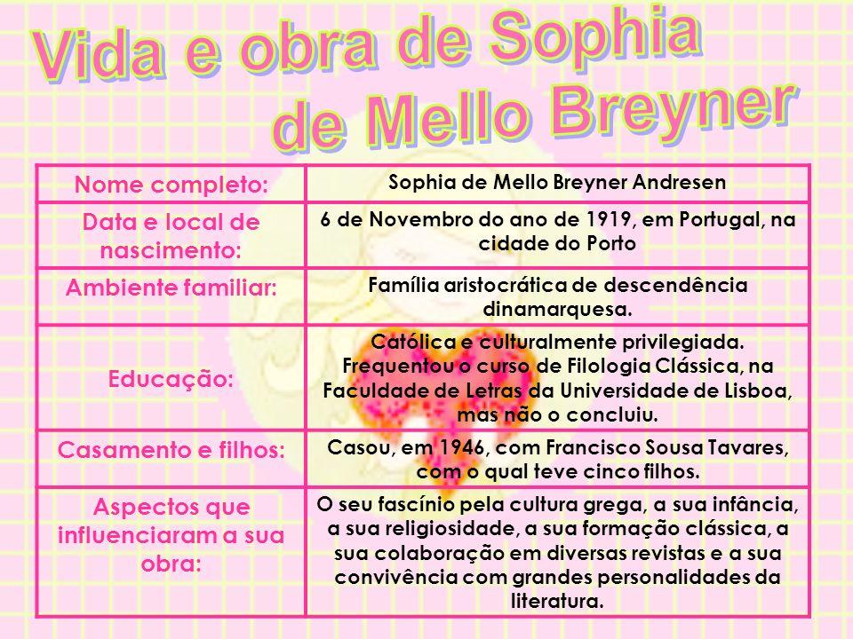 Nome completo: Sophia de Mello Breyner Andresen Data e local de nascimento: 6 de Novembro do ano de 1919, em Portugal, na cidade do Porto Ambiente fam