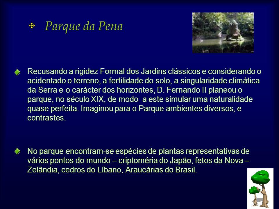 Parque da Pena Recusando a rigidez Formal dos Jardins clássicos e considerando o acidentado o terreno, a fertilidade do solo, a singularidade climática da Serra e o carácter dos horizontes, D.