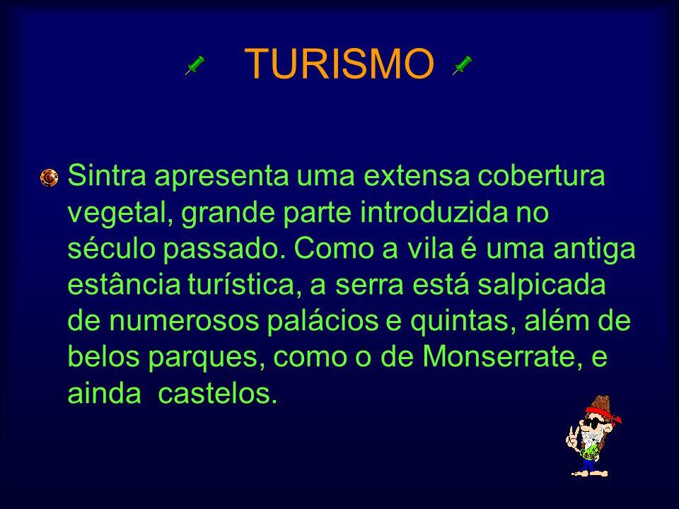 TURISMO Sintra apresenta uma extensa cobertura vegetal, grande parte introduzida no século passado. Como a vila é uma antiga estância turística, a ser
