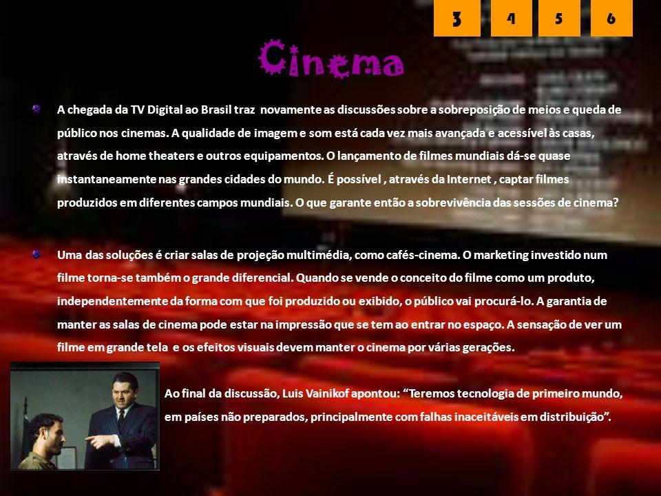 Cinema A chegada da TV Digital ao Brasil traz novamente as discussões sobre a sobreposição de meios e queda de público nos cinemas.