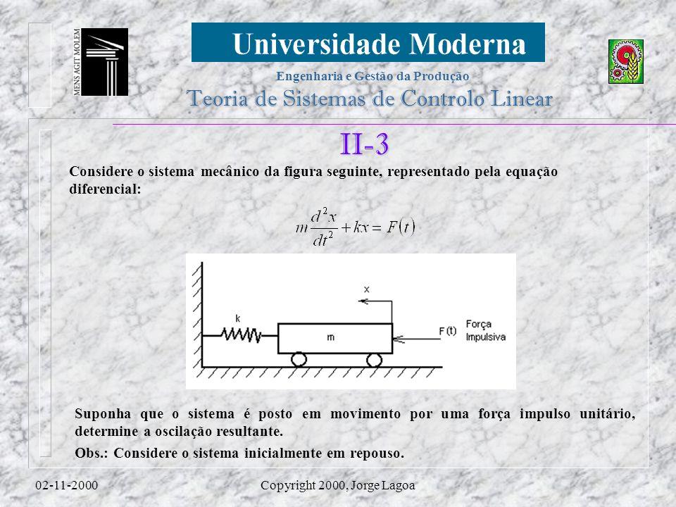 Engenharia e Gestão da Produção Teoria de Sistemas de Controlo Linear 02-11-2000Copyright 2000, Jorge Lagoa II-3 Considere o sistema mecânico da figura seguinte, representado pela equação diferencial: Suponha que o sistema é posto em movimento por uma força impulso unitário, determine a oscilação resultante.
