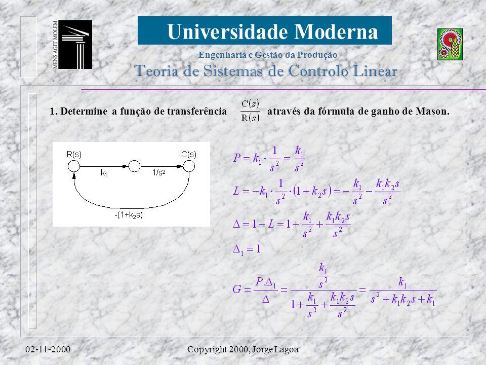 Engenharia e Gestão da Produção Teoria de Sistemas de Controlo Linear 02-11-2000Copyright 2000, Jorge Lagoa 1.