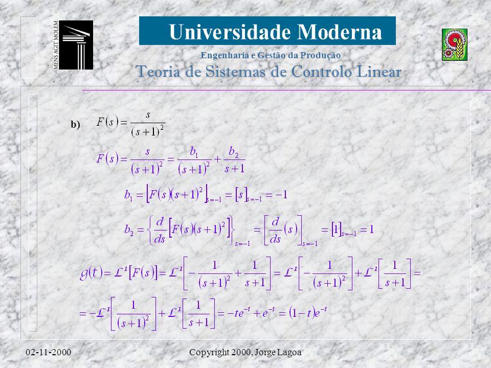 Engenharia e Gestão da Produção Teoria de Sistemas de Controlo Linear 02-11-2000Copyright 2000, Jorge Lagoa b)