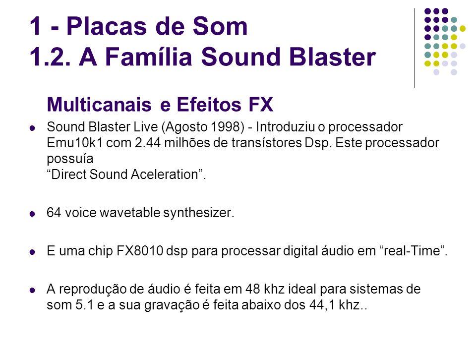 Multicanais e Efeitos FX Sound Blaster Live (Agosto 1998) - Introduziu o processador Emu10k1 com 2.44 milhões de transístores Dsp. Este processador po