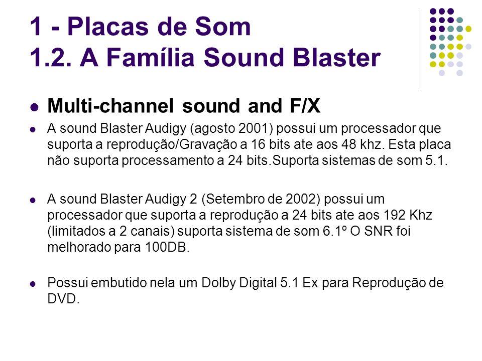 Multi-channel sound and F/X A sound Blaster Audigy (agosto 2001) possui um processador que suporta a reprodução/Gravação a 16 bits ate aos 48 khz. Est