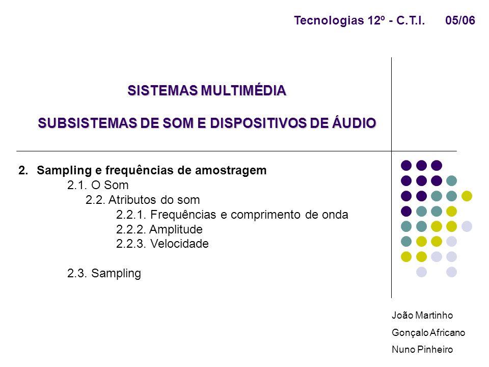 SISTEMAS MULTIMÉDIA SUBSISTEMAS DE SOM E DISPOSITIVOS DE ÁUDIO 2.Sampling e frequências de amostragem 2.1. O Som 2.2. Atributos do som 2.2.1. Frequênc