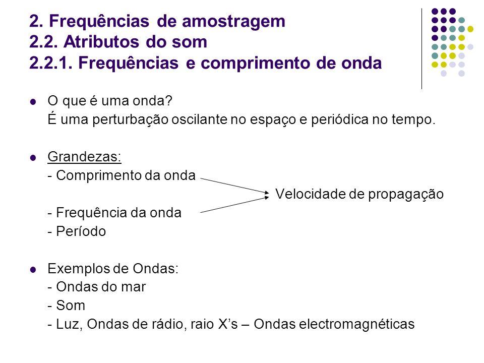 2. Frequências de amostragem 2.2. Atributos do som 2.2.1. Frequências e comprimento de onda O que é uma onda? É uma perturbação oscilante no espaço e