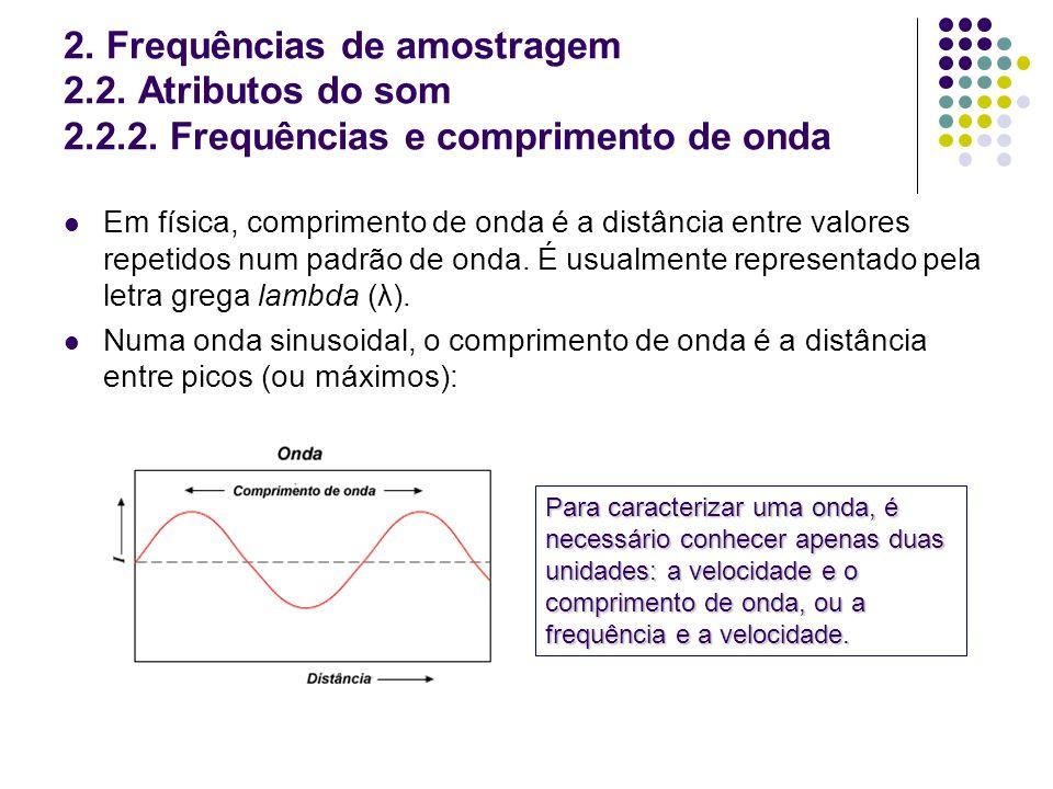 2. Frequências de amostragem 2.2. Atributos do som 2.2.2. Frequências e comprimento de onda Em física, comprimento de onda é a distância entre valores