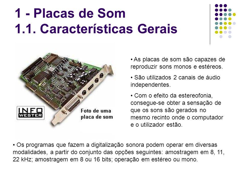 As placas de som são capazes de reproduzir sons monos e estéreos. São utilizados 2 canais de áudio independentes. Com o efeito da estereofonia, conseg