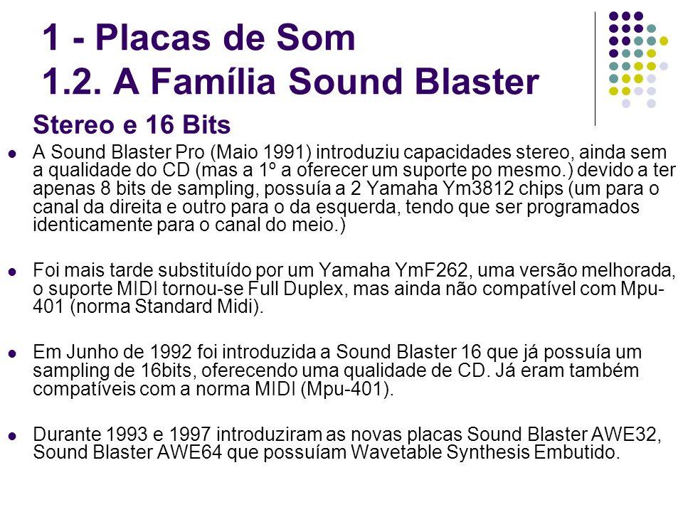 Stereo e 16 Bits A Sound Blaster Pro (Maio 1991) introduziu capacidades stereo, ainda sem a qualidade do CD (mas a 1º a oferecer um suporte po mesmo.)