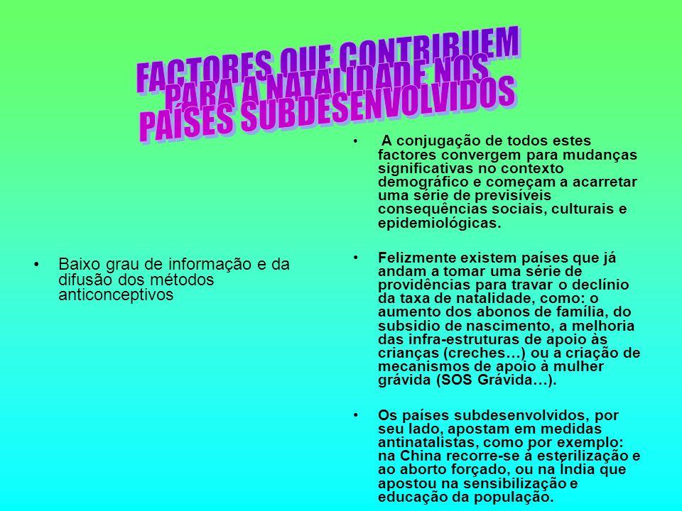 Baixo grau de informação e da difusão dos métodos anticonceptivos A conjugação de todos estes factores convergem para mudanças significativas no contexto demográfico e começam a acarretar uma série de previsíveis consequências sociais, culturais e epidemiológicas.