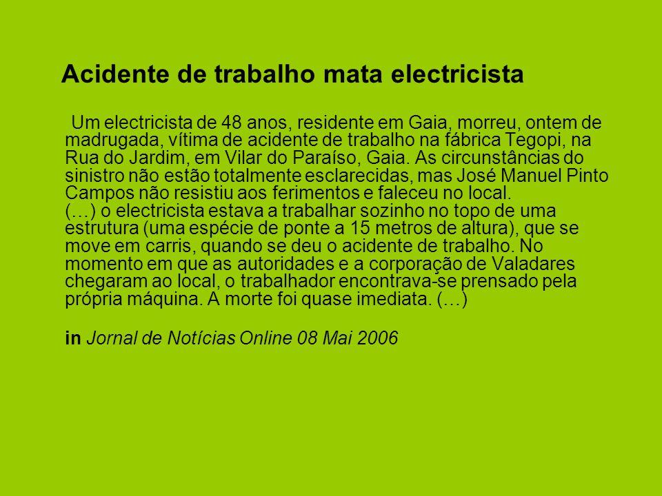 Acidente de trabalho mata electricista Um electricista de 48 anos, residente em Gaia, morreu, ontem de madrugada, vítima de acidente de trabalho na fábrica Tegopi, na Rua do Jardim, em Vilar do Paraíso, Gaia.