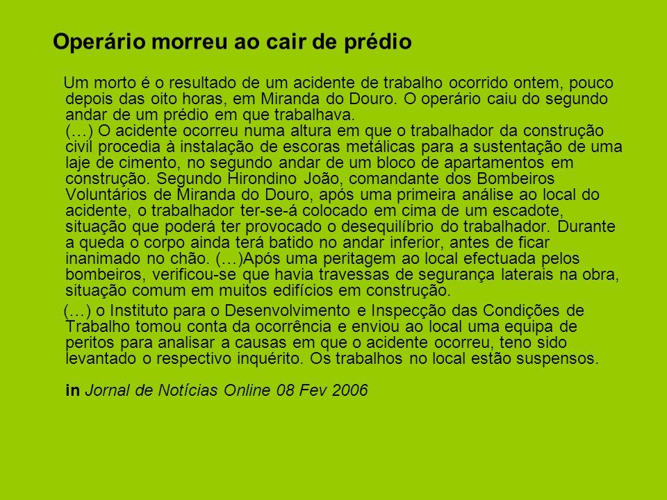 Operário morreu ao cair de prédio Um morto é o resultado de um acidente de trabalho ocorrido ontem, pouco depois das oito horas, em Miranda do Douro.