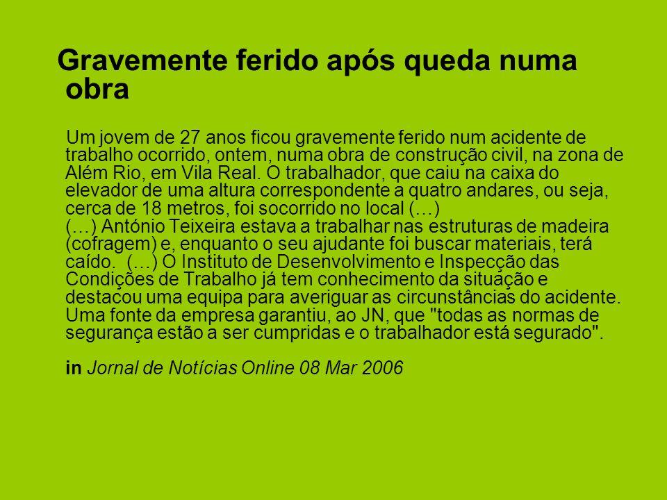 Gravemente ferido após queda numa obra Um jovem de 27 anos ficou gravemente ferido num acidente de trabalho ocorrido, ontem, numa obra de construção civil, na zona de Além Rio, em Vila Real.