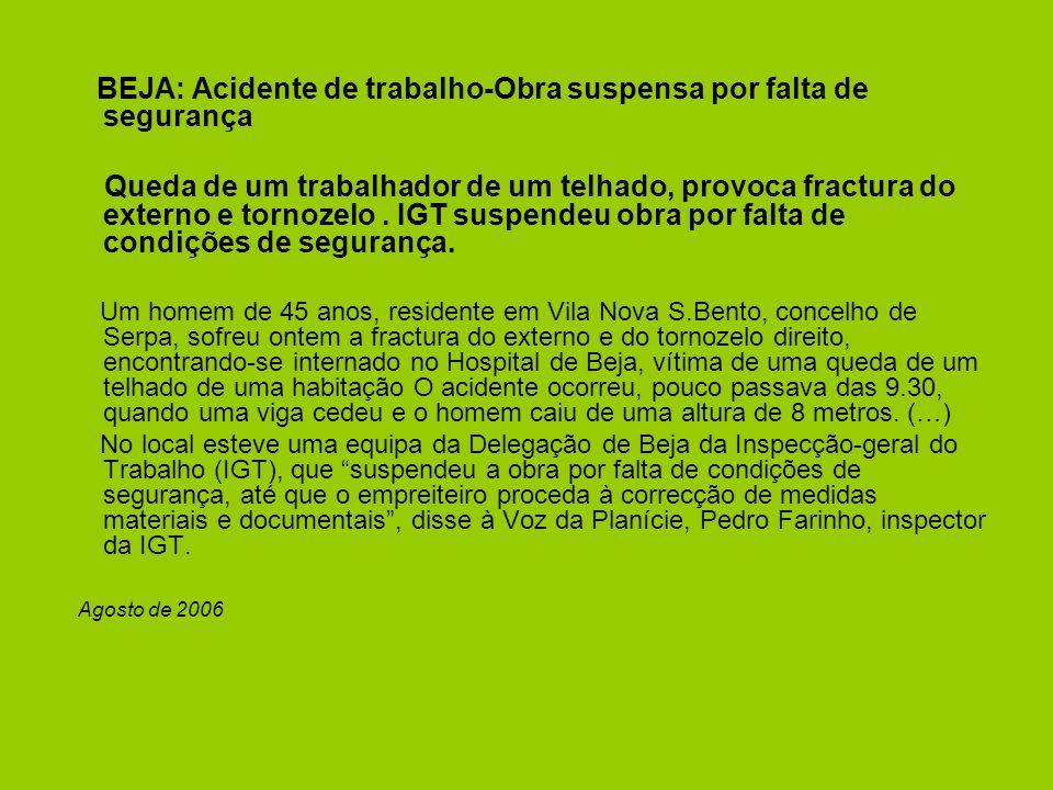 BEJA: Acidente de trabalho-Obra suspensa por falta de segurança Queda de um trabalhador de um telhado, provoca fractura do externo e tornozelo.