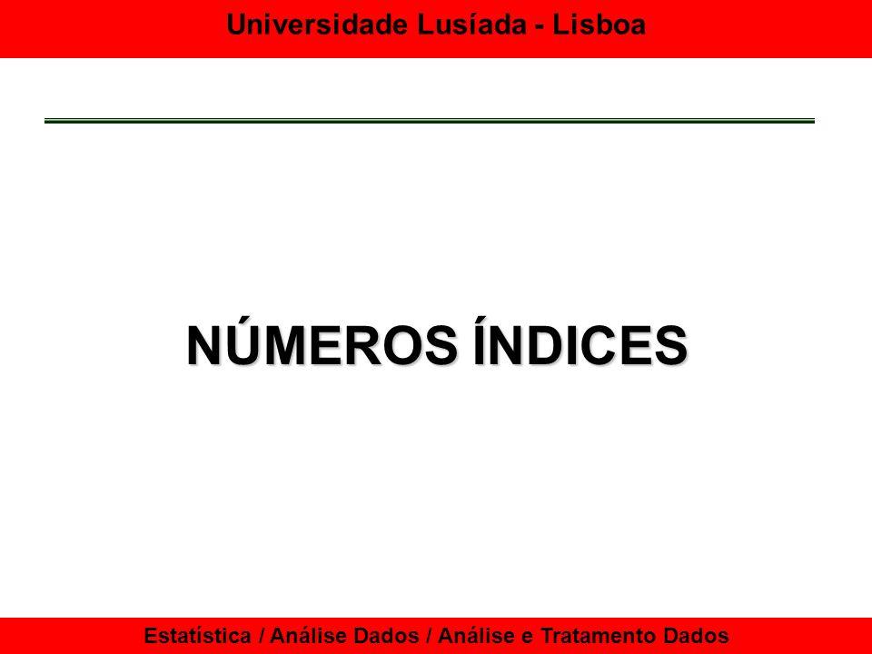 Universidade Lusíada - Lisboa Estatística / Análise Dados / Análise e Tratamento Dados Números Índices Manipulação de números índices Ligação de diferentes séries de números índices