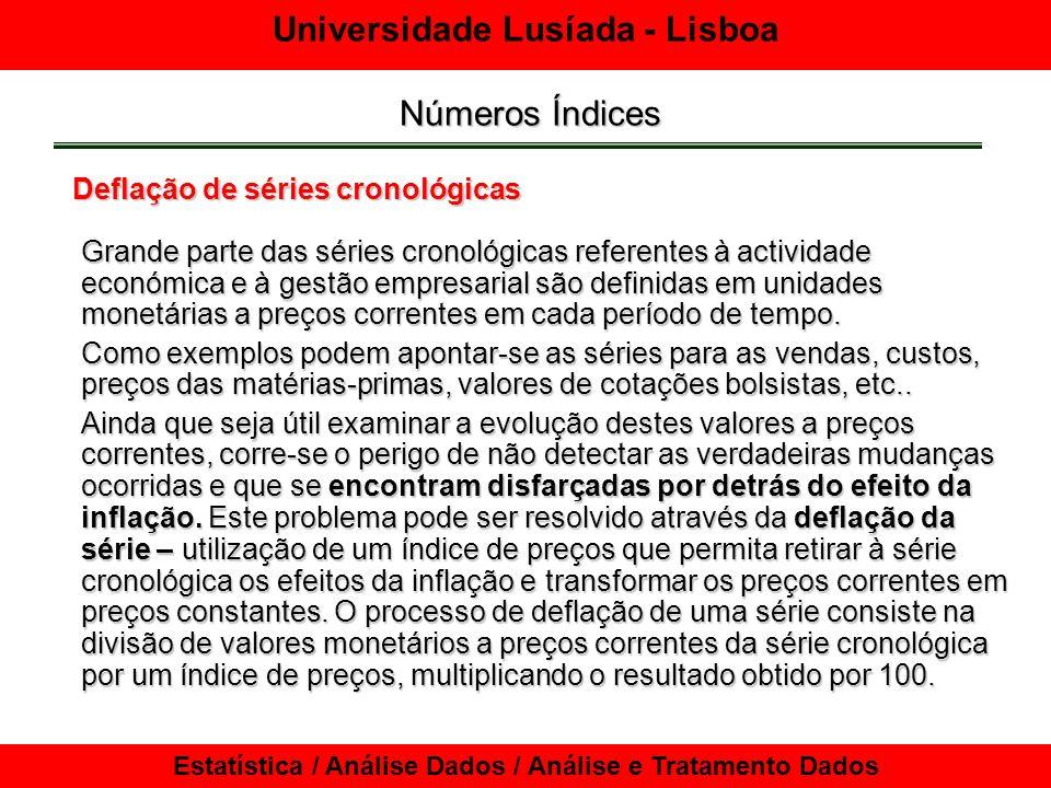 Universidade Lusíada - Lisboa Estatística / Análise Dados / Análise e Tratamento Dados Números Índices Deflação de séries cronológicas Grande parte da