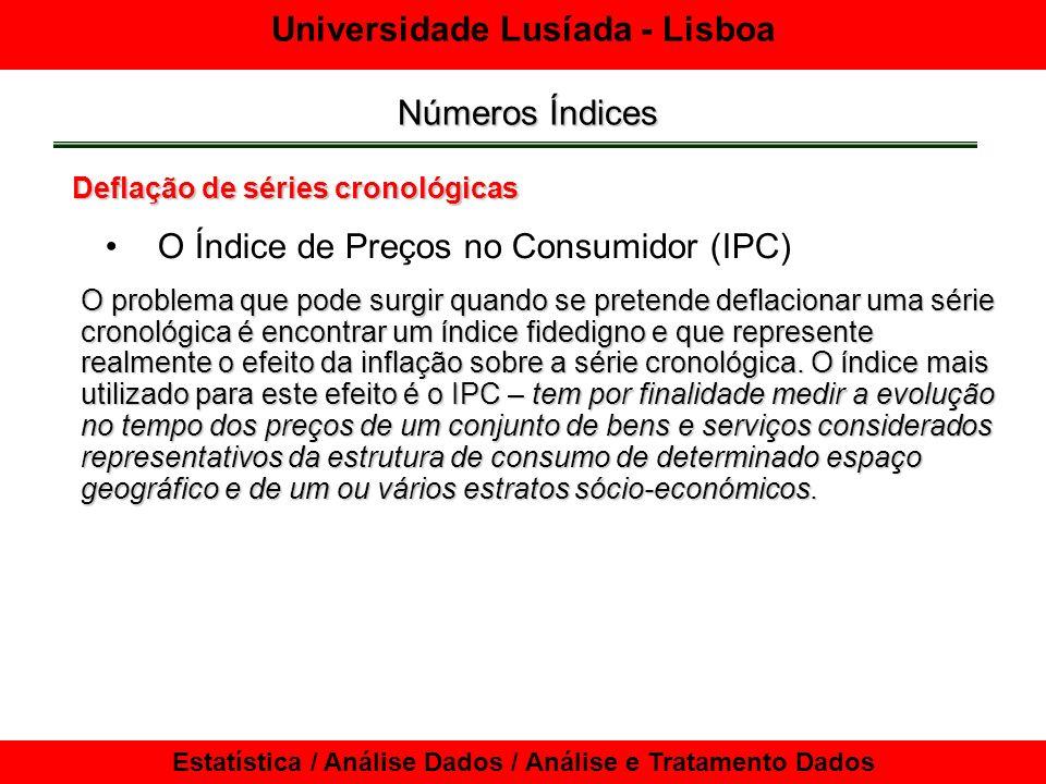 Universidade Lusíada - Lisboa Estatística / Análise Dados / Análise e Tratamento Dados Números Índices Deflação de séries cronológicas O problema que