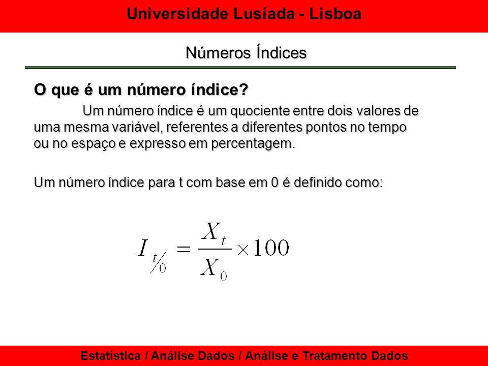 Universidade Lusíada - Lisboa Estatística / Análise Dados / Análise e Tratamento Dados Números Índices O que é um número índice? Um número índice é um