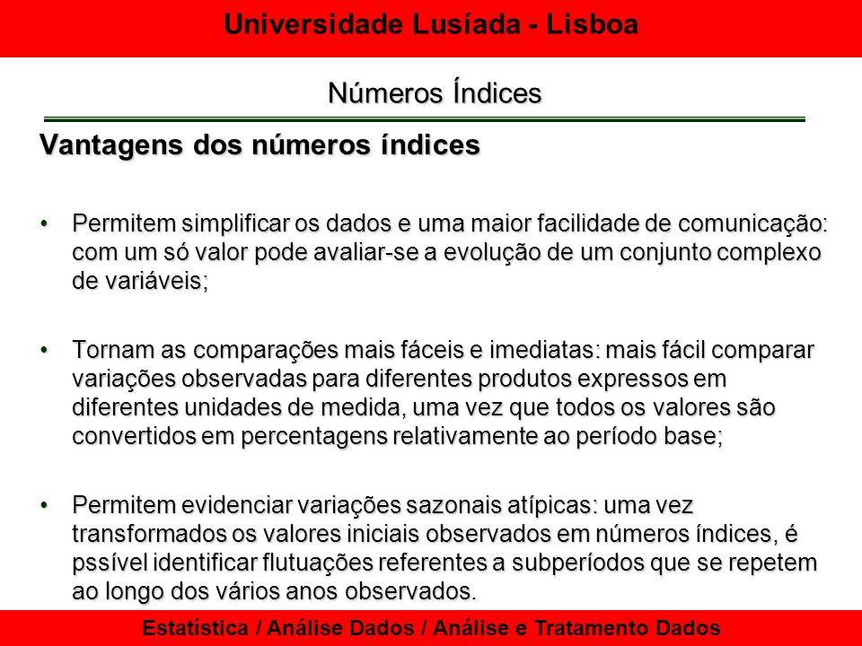 Universidade Lusíada - Lisboa Estatística / Análise Dados / Análise e Tratamento Dados Números Índices Vantagens dos números índices Permitem simplifi