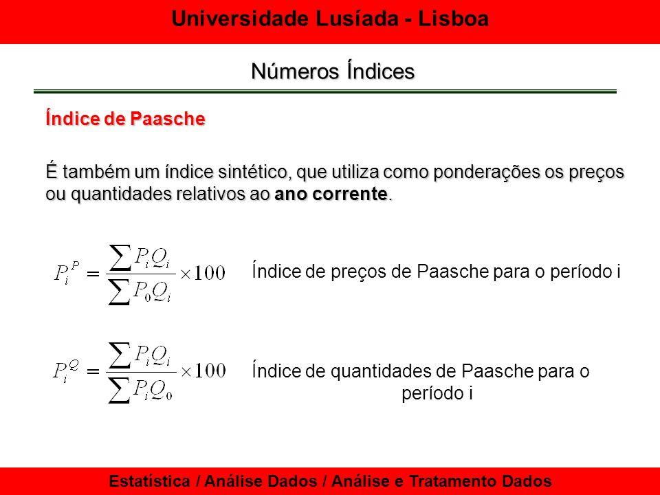 Universidade Lusíada - Lisboa Estatística / Análise Dados / Análise e Tratamento Dados Números Índices Deflação de séries cronológicas O Índice de Preços no Consumidor (IPC)