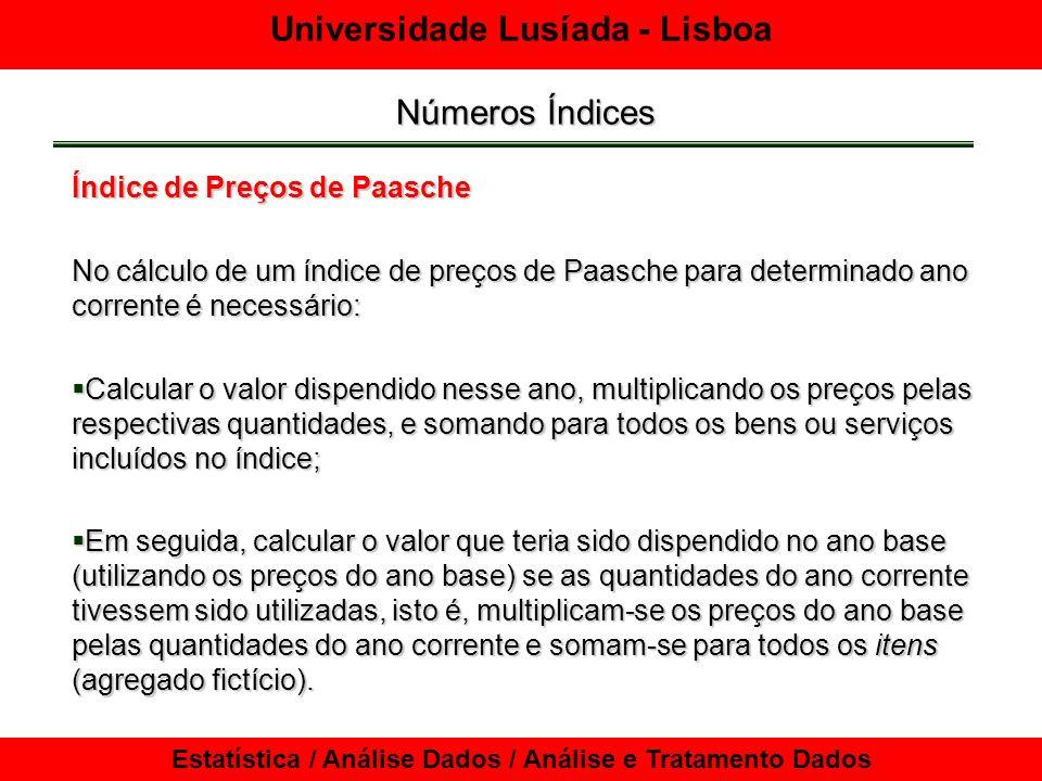 Universidade Lusíada - Lisboa Estatística / Análise Dados / Análise e Tratamento Dados Números Índices Índice agregado de valores Utilizado por muitas empresas para caracterizar o desempenho das vendas.