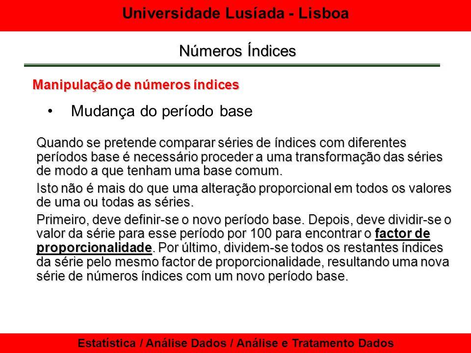 Universidade Lusíada - Lisboa Estatística / Análise Dados / Análise e Tratamento Dados Números Índices Manipulação de números índices Mudança do período base