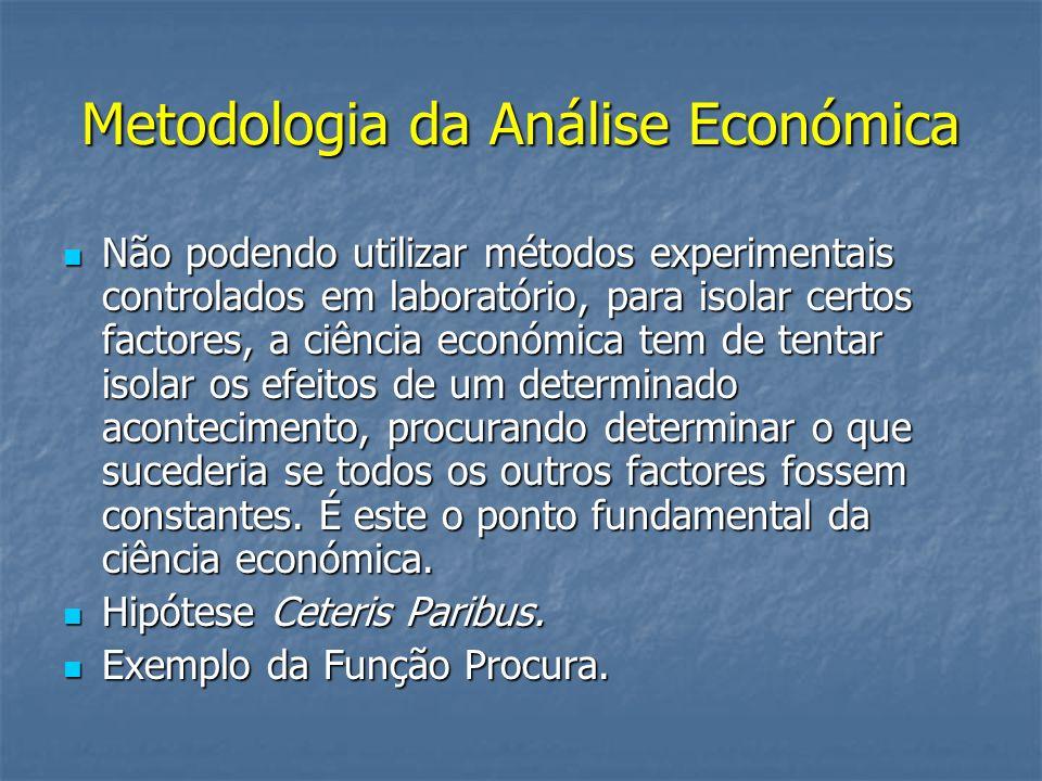 Metodologia da Análise Económica Não podendo utilizar métodos experimentais controlados em laboratório, para isolar certos factores, a ciência económi