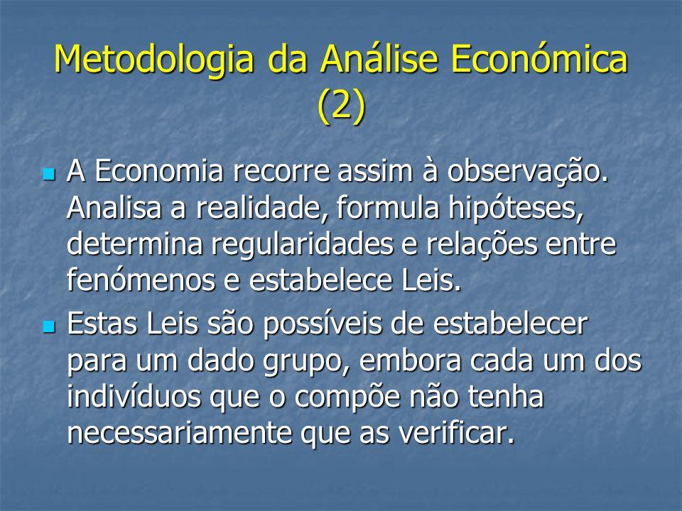 Metodologia da Análise Económica (2) A Economia recorre assim à observação. Analisa a realidade, formula hipóteses, determina regularidades e relações