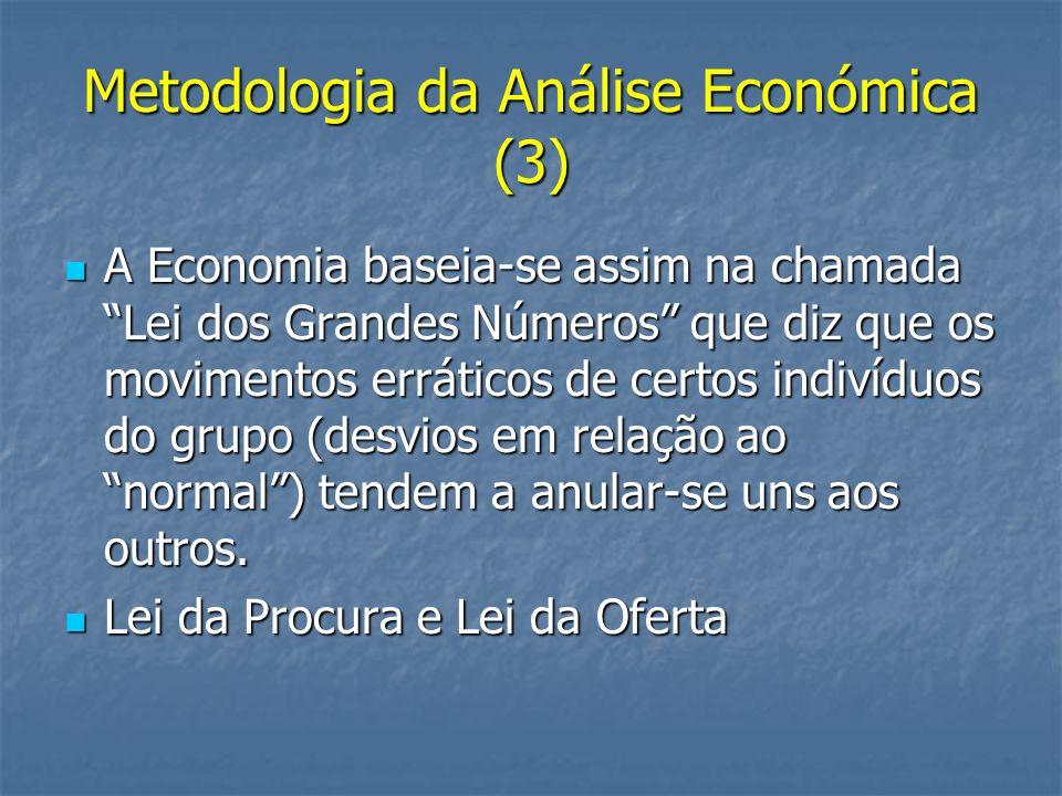 Metodologia da Análise Económica (3) A Economia baseia-se assim na chamada Lei dos Grandes Números que diz que os movimentos erráticos de certos indiv