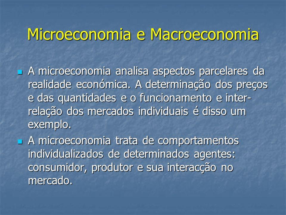 Microeconomia e Macroeconomia A microeconomia analisa aspectos parcelares da realidade económica. A determinação dos preços e das quantidades e o func