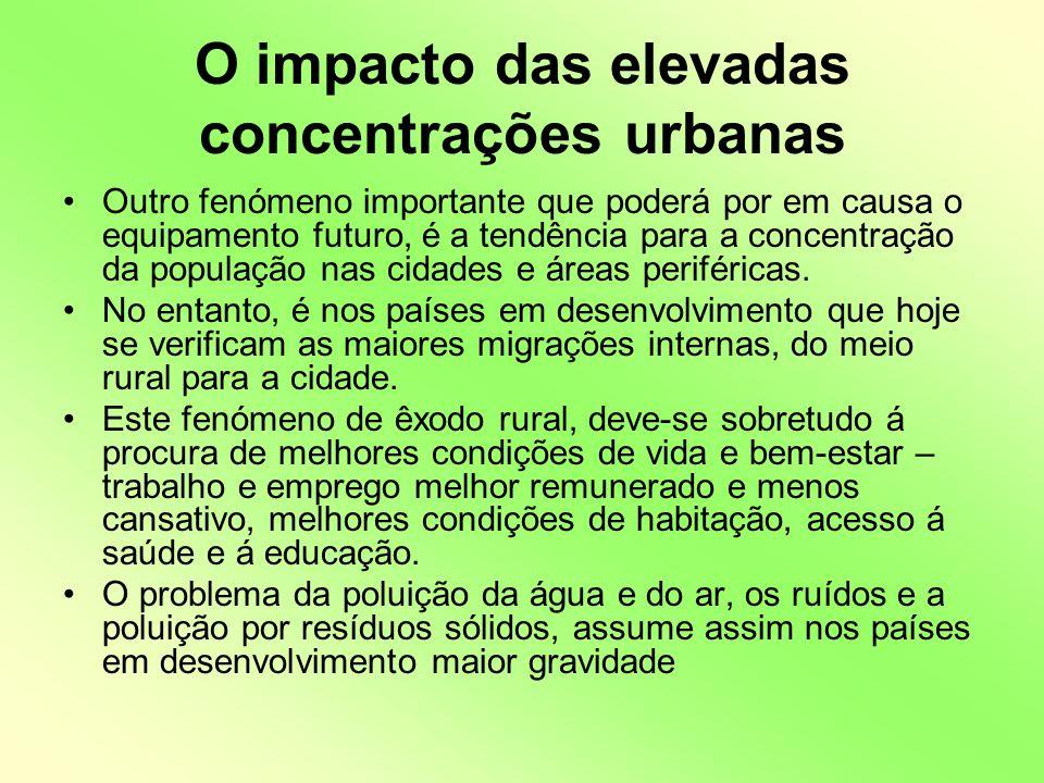 O impacto das elevadas concentrações urbanas Outro fenómeno importante que poderá por em causa o equipamento futuro, é a tendência para a concentração da população nas cidades e áreas periféricas.