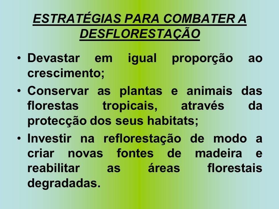 ESTRATÉGIAS PARA COMBATER A DESFLORESTAÇÃO Devastar em igual proporção ao crescimento; Conservar as plantas e animais das florestas tropicais, através da protecção dos seus habitats; Investir na reflorestação de modo a criar novas fontes de madeira e reabilitar as áreas florestais degradadas.