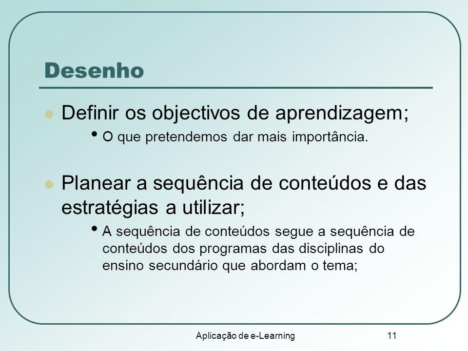 Aplicação de e-Learning 11 Desenho Definir os objectivos de aprendizagem; O que pretendemos dar mais importância. Planear a sequência de conteúdos e d