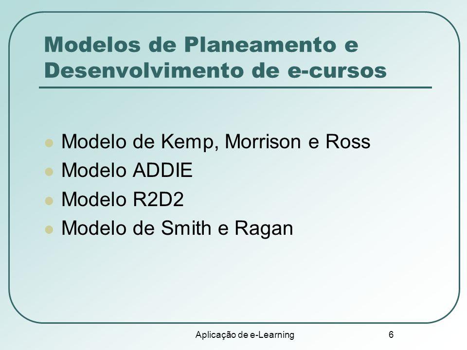 Aplicação de e-Learning 6 Modelos de Planeamento e Desenvolvimento de e-cursos Modelo de Kemp, Morrison e Ross Modelo ADDIE Modelo R2D2 Modelo de Smit