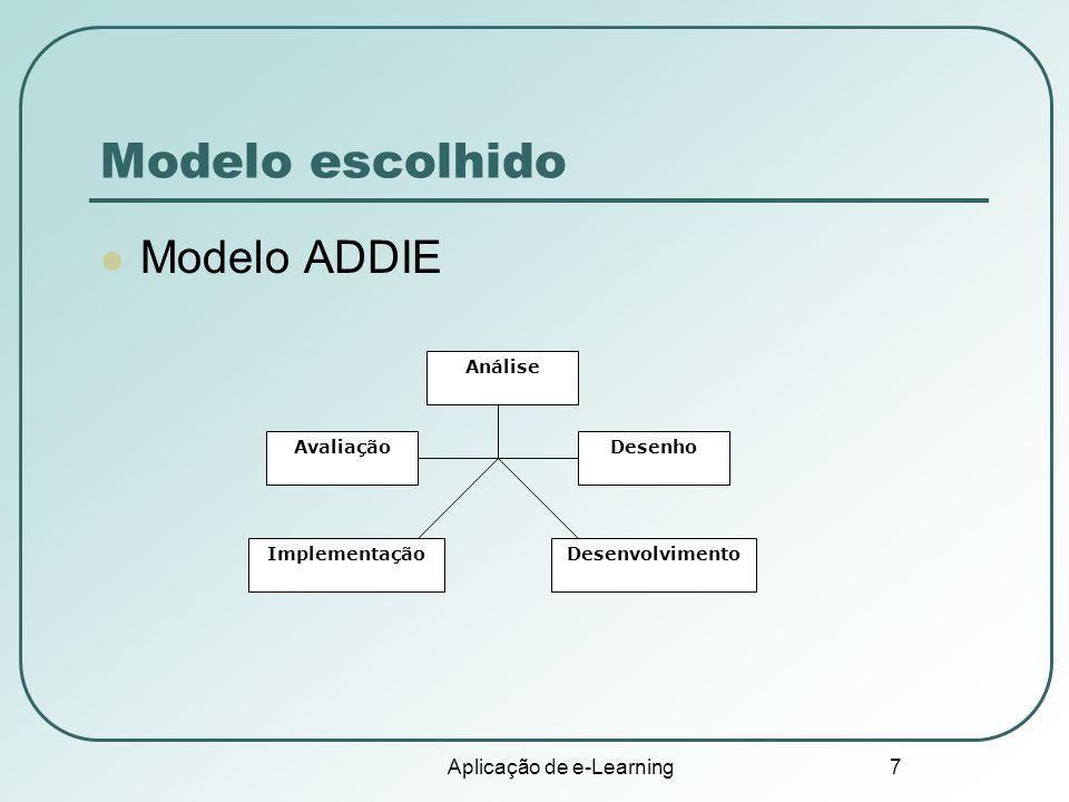 Aplicação de e-Learning 7 Modelo escolhido Modelo ADDIE Análise DesenhoAvaliação ImplementaçãoDesenvolvimento