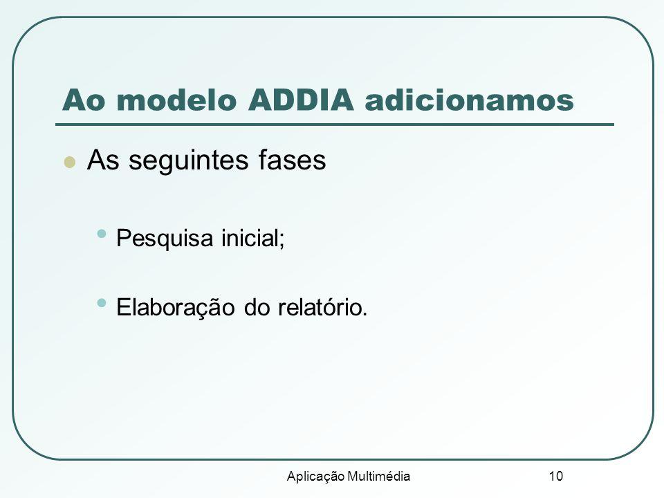 Aplicação Multimédia 10 Ao modelo ADDIA adicionamos As seguintes fases Pesquisa inicial; Elaboração do relatório.