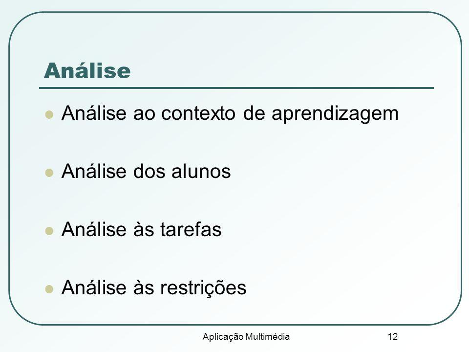 Aplicação Multimédia 12 Análise Análise ao contexto de aprendizagem Análise dos alunos Análise às tarefas Análise às restrições