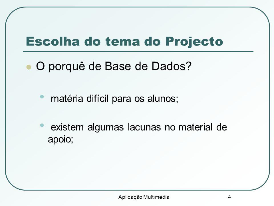 Aplicação Multimédia 4 Escolha do tema do Projecto O porquê de Base de Dados? matéria difícil para os alunos; existem algumas lacunas no material de a