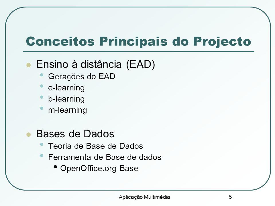 Aplicação Multimédia 5 Conceitos Principais do Projecto Ensino à distância (EAD) Gerações do EAD e-learning b-learning m-learning Bases de Dados Teori