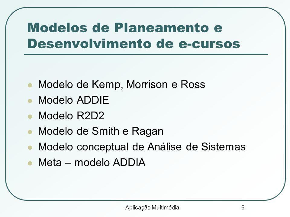 Aplicação Multimédia 6 Modelos de Planeamento e Desenvolvimento de e-cursos Modelo de Kemp, Morrison e Ross Modelo ADDIE Modelo R2D2 Modelo de Smith e Ragan Modelo conceptual de Análise de Sistemas Meta – modelo ADDIA
